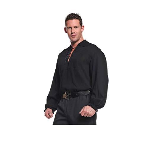 Underwraps Costumes  Men's Renaissance Pirate Shirt, Black, One Size -