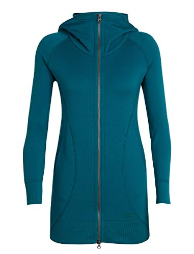 - Icebreaker Merino Women's Dia Long Hooded Jacket Athletic Sweaters, Small, Kingfisher