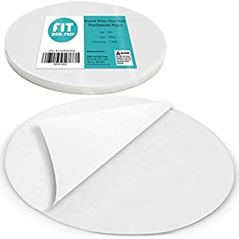[250 Pack] 7 Inches Non-Stick Parchment Paper - Round White Baking Sheets, Wax Paper Liners for Cake Pan, for Steamer, Fryer and Oven, for Cakes, Cheesecakes, Pizza, Cookies, Meats and Vegetables