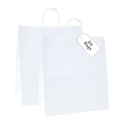 Incredible Packaging - 18'' x 7'' x 18'' Jumbo Kraft Paper Bags with Handles for Shopping, Retail and Merchandise. Strong and Reusable - 80 Paper Thickness- 100% Recycled (60, White) by Incredible Packaging