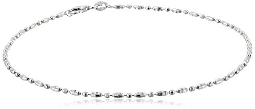 (Italian Sterling Silver Rhodium Plated Diamond Cut Oval and Round Beads Mezzaluna Chain Ankle Bracelet, 10