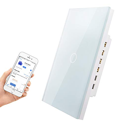 HHGAOKO Wifi Smart Light Switch,Tempered Glass Panel Touch Light Switch 1 Gang 1 Way with Indicator Light, Compatible with Alexa, Google Assistant and Jinvoo APP(1 Gang Light Switch White)