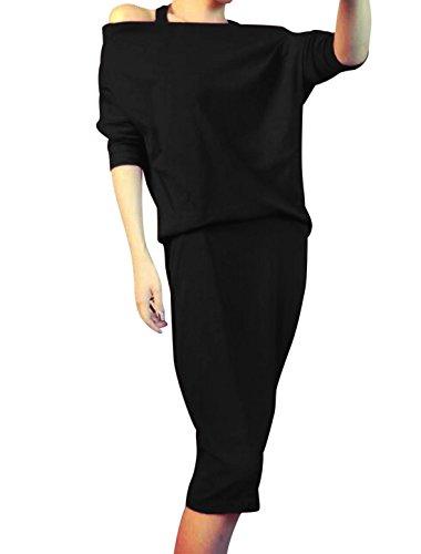 Mujer Sin Mangas Hombro Cuello Halter Manga Murciélago Vestido - algodón, Negro, 50% poliéster 50% algodón No, Mujer, Extra Chica (EU 32)