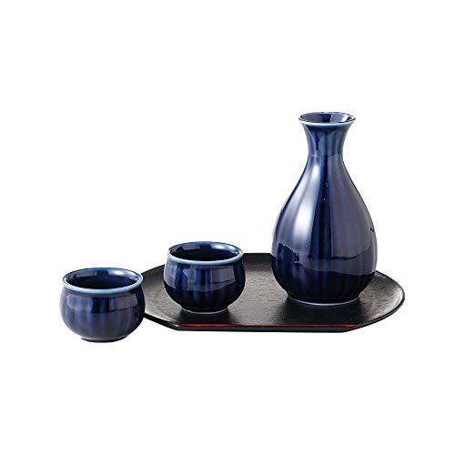 Glossy Blue Sake Minoyaki Ceramic Serving Set (Made in ()