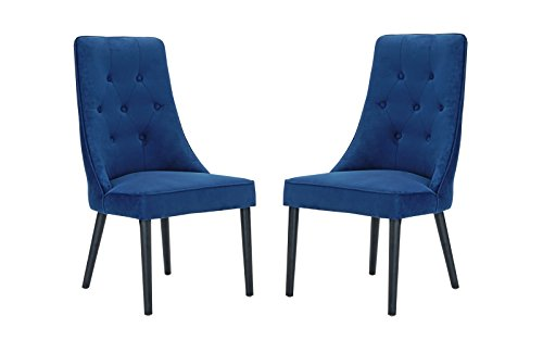 Classic 2 Piece Tufted Button Brush Microfiber Dining Chair (Navy)