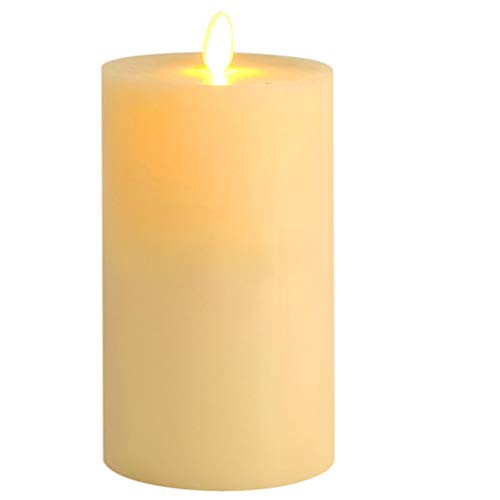 LED Candle 3.5 X6 Inch Flat Top Flameless Wax Popular Vanilla Scented Ivory Wax Moving Wick for Christmas Home Decoration -