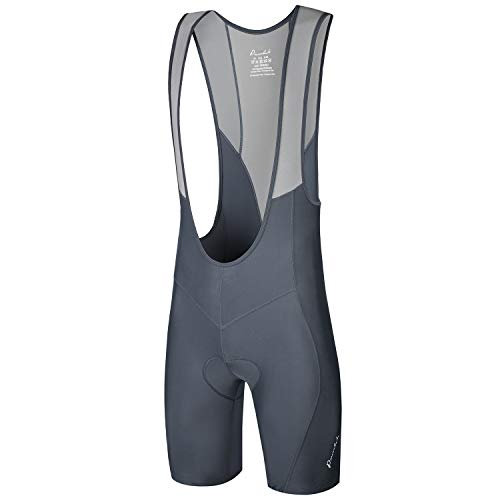 Przewalski Men's 3D Padded Cycling Bike Bib Shorts, Excellent Performance and Better Fit (Gray, Waist 32-34