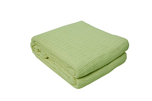 J&M Home Fashions Soft Premium Cotton Thermal Blanket, Full/Twin 72x90, All Season Comfort Cozy Warm Breathable Throw Blanket for Layering Bed, Couch, Sofa-Green