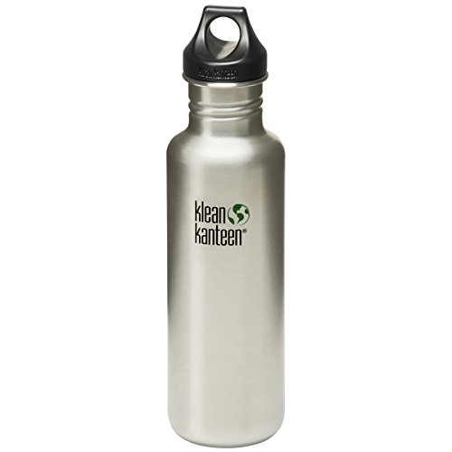 Klean Kanteen Classic 27-Ounce Stainless Steel Bottle With Loop - 1l Wall Black Outdoor