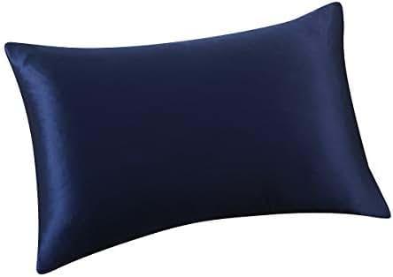 ALASKA BEAR® - Natural Silk Pillowcase, Hypoallergenic, 19 Momme, 600 Thread Count 100 Percent Mulberry Silk, Standard Size with Hidden Zipper(1, Navy Blue)
