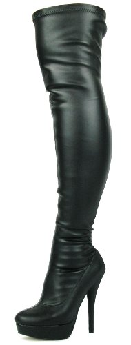 STILLETO HIGH KNEE FIT WIDE Noir THIGH SIZE OVER LADIES THE BLACK Noir STRETCHY SEXY BOOTS STRETCH WOMENS EwHn7CqS