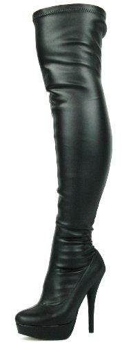 39 Kunstleder das 38 Schwarzem 36 strecken Frauen Passform Schuhe Stilett Overknee Knie breite Stiefel DOK136 über 41 schwarze 40 37 Stretch Größe RZaFwqW