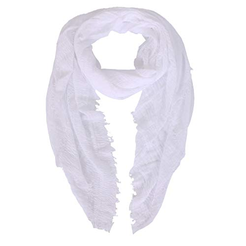 LMVERNA Women wrinkle Scarf Crinkle Muslim Hijab scarves Solid Color Long Wrap Scarf (White)