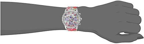 GUESS Women's U0903L1 Sporty Silver-Tone Watch with Floral Print Dial , Crystal-Accented Bezel and Nylon Band