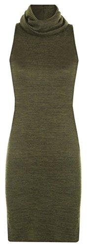 New Color Khaki Knit Midi Click Dress Polo Selfie Neck Wear Womens gOwfx54