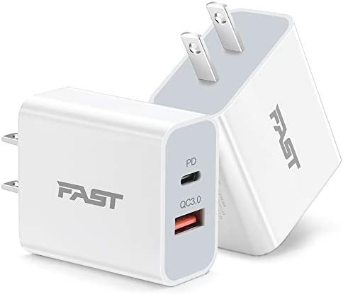 20W Fast Charger for iPhone 12/11, JUNVANG USB C PD Power Delivery + Quick Charge 3.0 Dual Port Wall Charger Block Plug for iPhone 12/11 /Pro Max, XS/XR/X 8/7/6, iPad Pro/Air 2/3/4, AirPod (Pack-2)