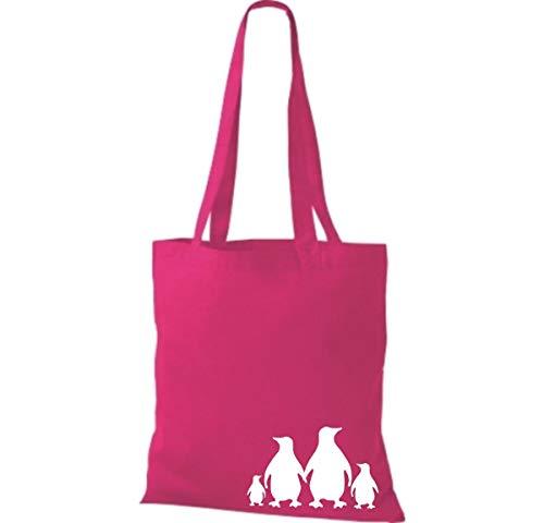 Algodón Bolsa Tela Fucsia Animales De Bolso Shirtinstyle Lustige X Cm Cm 38 Pingüinos 42 CxqItg
