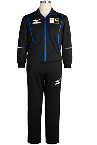 Costhat High School Sportswear Japanese Team Uniform Coat Top Jacket Pants Cosplay Costume (Male:Small, Black Coat+Pants) (Building A Coat Closet)