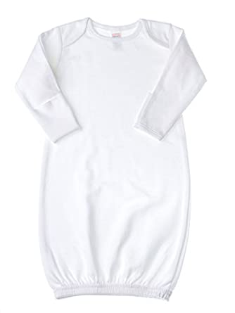 Amazon.com: Baby Jay Newborn Sleeper Gown - White Soft Cotton Baby ...