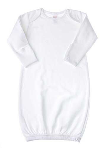 Baby Jay Newborn Sleeper Gown - White Soft Cotton Baby Nightgown Swaddle With Mitten Cuffs and Elastic Bottom (Bottom Gown)