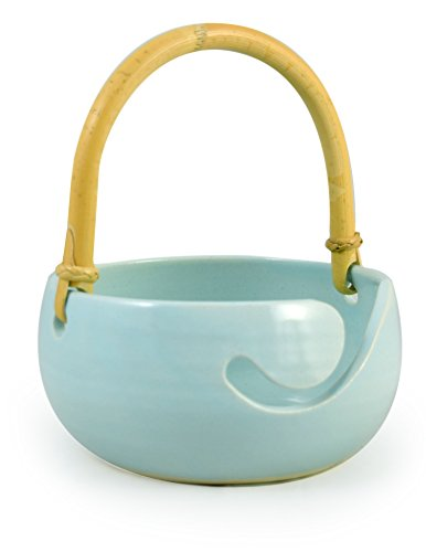 (American-Made Ceramic Stoneware Knitting Bowl with Bamboo Handle (Robin's Egg Blue))