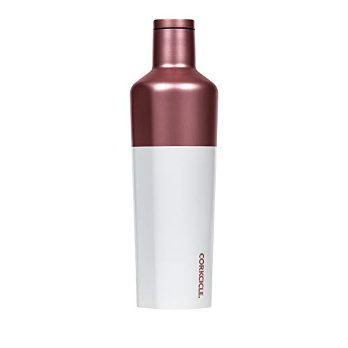Corkcicle Canteen Color Block Collection - Water Bottle & Thermos - Triple Insulated Shatterproof Stainless Steel, Modern Rose, 25oz