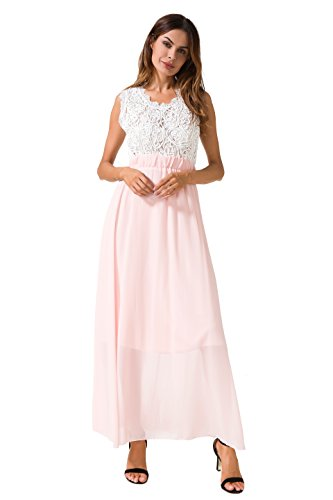 OQC Women's Vintage Lace Chiffon Formal Evening Party Gown Bridesmaid Wedding Dress