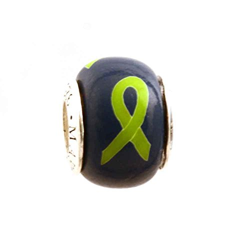 (Lime Green Awareness Ribbon on Navy Bead Charm Lymphoma Muscular Dystrophy for Add-A-Bead Bracelets Clay & Sterling Silver by MAYselect)