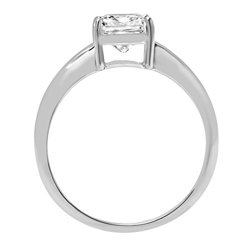 Cushion Brilliant Cut Classic Solitaire Designer Wedding Bridal Statement Anniversary Engagement Promise Ring Solid 14k White Gold, 2.7ct, 8.75 by Clara Pucci (Image #2)