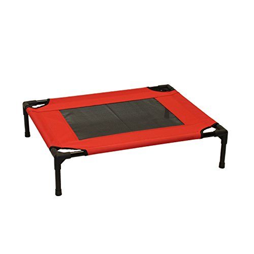 ALEKO EDB02-M-RED Luxury Elevated Dog Bed Pet Bed Steel Frame 30 x 24 x 7 Inches Red Color