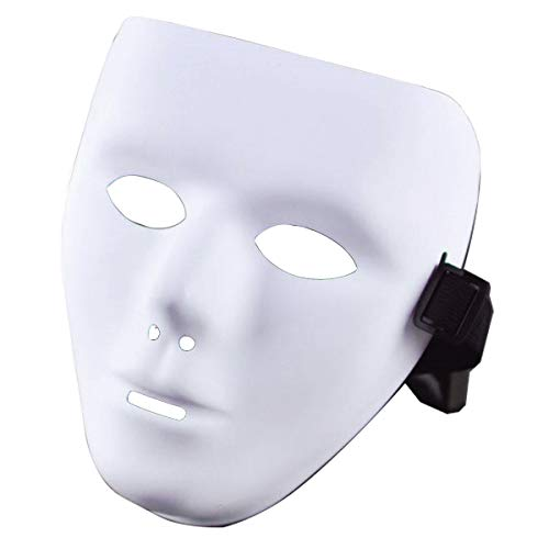 Halloween Costumes Jabbawockeez Mask (IDOXE Acrylic Blank Plain White Mask Male The Phantom of The Opera Dance Hip-hop Mask for Halloween Costume Plastic Face Purge)