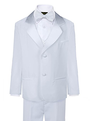 Rafael Boys Tuxedo with Vest, Shirt, and Bow Tie - White, Size -