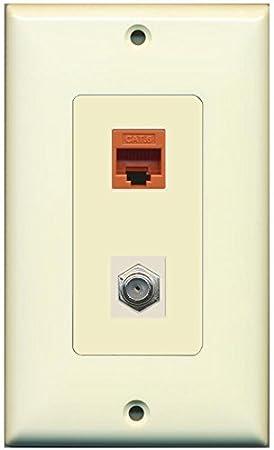 RiteAV – 1 puerto Cat6 Ethernet naranja 1 puerto Cable Coaxial TV- Coaxial marfil decorativo
