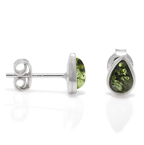 Amber Teardrop Earrings - 925 Sterling Silver Drop Stud