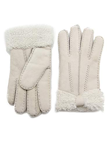 YISEVEN Women's Sheepskin Shearling Leather Gloves Mittens Sherpa Fur Wing Cuff Thick Wool Lined and Heated Warm for Winter Cold Weather Dress Driving Work Xmas Gifts, Beige Rugged ()