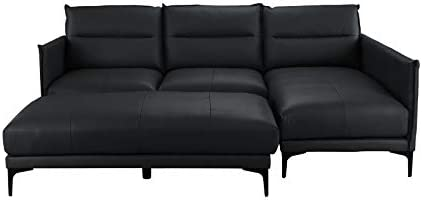 Surprising Mid Century Leather Sectional Sofa L Shape Couch With Rectangular Ottoman Black Forskolin Free Trial Chair Design Images Forskolin Free Trialorg
