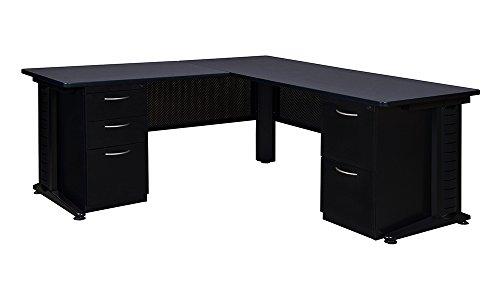 Regency L-shaped Desk - Regency Fusion 72-Inch Double Pedestal L-Desk with 42-Inch Return, Grey