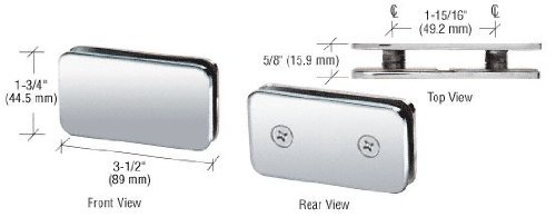 CRL Chrome Traditional 180 Degree Double Stud Glass Clamp by C.R. Laurence