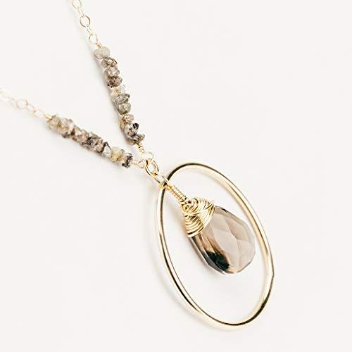 Raw Chocolate Diamond Brown Smoky Quartz Gold Gemstone Pendant Necklace