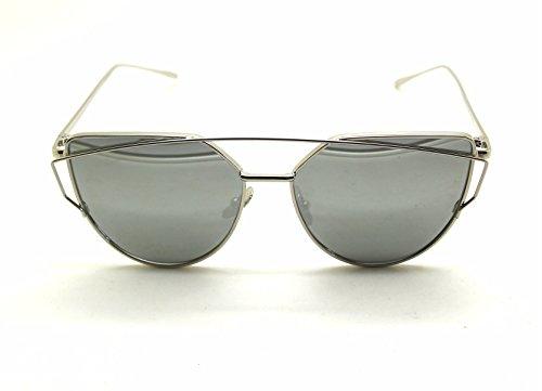 Mode Féminine Cat Eye Sunglasses Classique Marque Designer Twin-Poutres Lunettes de Soleil Lady Coating Mirror Flat Panel Objectif Lunettes (Noir Cadre / Rouge Lense) HcSKKlNzT