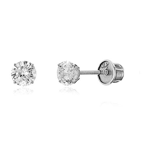 10k White Gold 3mm Basket Round CZ Cubic Zirconia Solitaire Children Screw Back Baby Girls Earrings ()