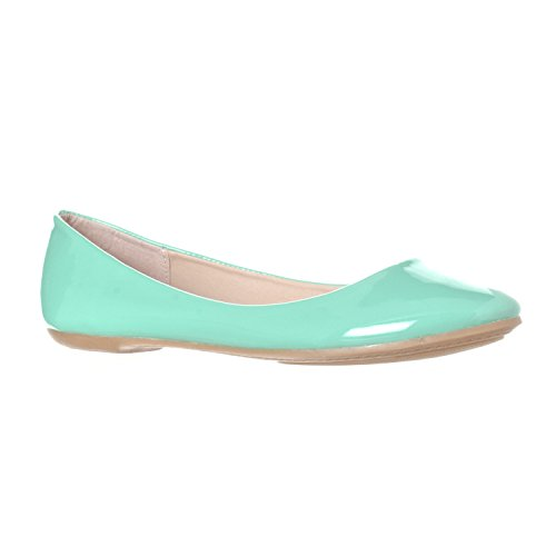 - Riverberry Women's Aria Closed, Round Toe Ballet Flat Slip On Shoes, Mint Patent, 10