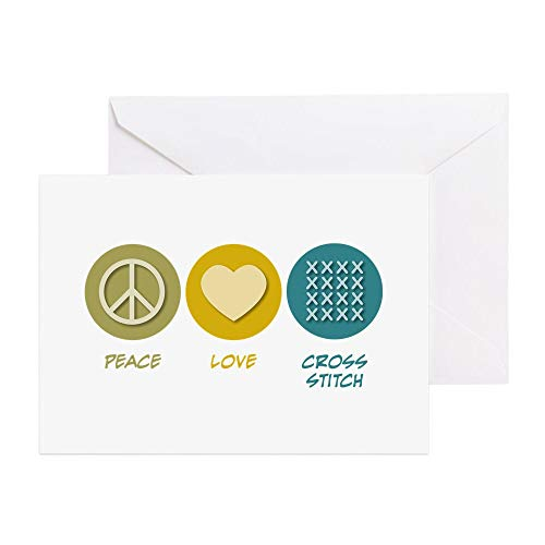 CafePress Peace Love Cross Stitch Greeting Card, Note Card, Birthday Card, Blank Inside - Cards Stitch Birthday Cross