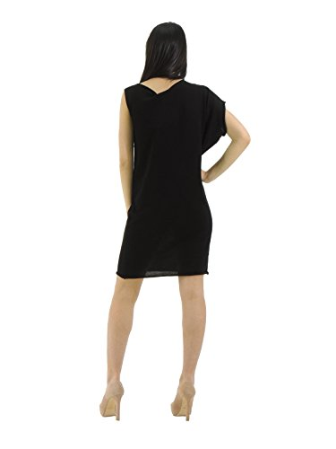 Manila Grace abito donna al ginocchio vestito asimmetrico tunica tubinoS07978 (0, NERO)