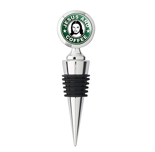 - Green JESUS and COFFEE Logo (God Christian Christ pray group) Metal Wine Bottle Stopper
