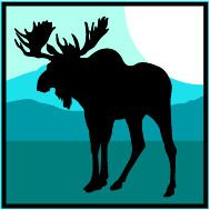 """6"""" Printed color moose silhouette mountain background sticker decal for any smooth surface such as windows bumpers laptops or any smooth surface."""