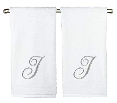 Slakeware Custom Monogrammed Hand Towels, Set of 2, 100% Cotton, Made in USA, Quality Used by Luxury Hotels, Embroidered Silver Thread Script Monogram (White, J - 2 Hand Towel Set)