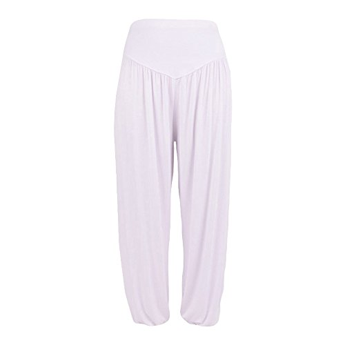 TOTOD Pants for Women Casual Loose Bloomers Elastic Modal Cotton Soft Yoga Dance Harem Trousers White ()