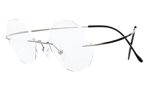 Eyekepper Titanium Rimless Round Eyeglasses 43mm Circle Optical Frame - Rimless Eyeglass