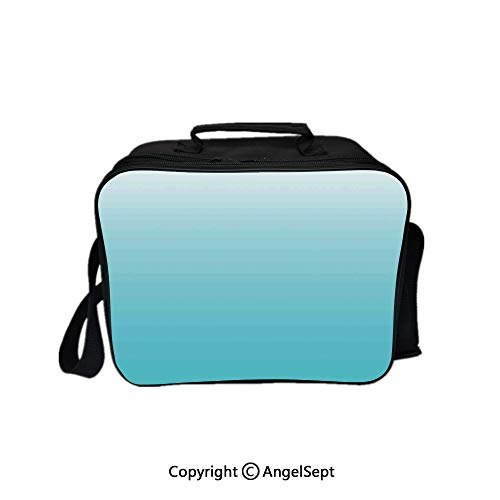 - Travel Picnic Lunch Box Wide Open Lunch,Deep Maldives Sealife Ocean Inspired Aquatic Color Modern Design Digital Art Turquoise White 8.3inch,Lunch Bags For Unisex Adults